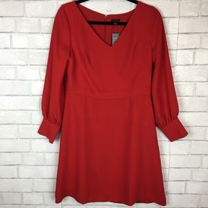 NEW Ann Taylor Red A-Line Long Sleeve Dress 8P